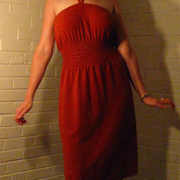 Gorgeous 1970s Rust colored Terry cloth dress. Halter tie. Medium.