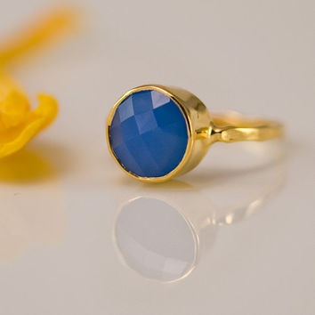 Deep Blue Chalcedony Stacking Ring - Gemstone Ring - Gold Ring - Bezel Set Ring -