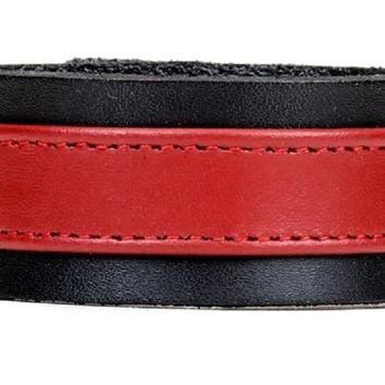 "Red on Black Strip Leather Wristband Bracelet Cuff 1-1/4"" Wide"