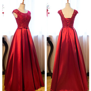 Red Satin Bandage A-Line Prom Dresses Evening Dresses