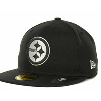 Pittsburgh Steelers NFL Black And White 59FIFTY Cap