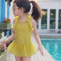 Vindie Baby Swimsuit Vintage One Piece Swimsuit Bathing Suit Yellow Bowtie