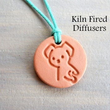 Small Kids Aromatherapy Essential Oil Diffuser Pendant Necklace Lil Dog Children Terra Cotta Animal Lover Natural Gift Healing Jewelry