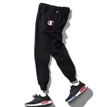 One-nice™ Champion Women Men Fashion Embroidering Print Sport Stretch Pants Trousers Sweatpants Black