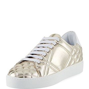 BURBERRY Westford Quilted Metallic Leather Low-Top Sneaker, Gold 40.5