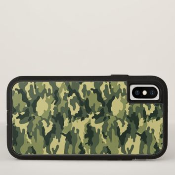 Green Camouflage Pattern iPhone X Case