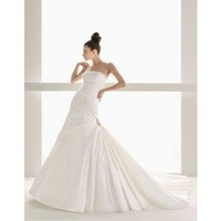 A-line floor length taffeta bridal gown