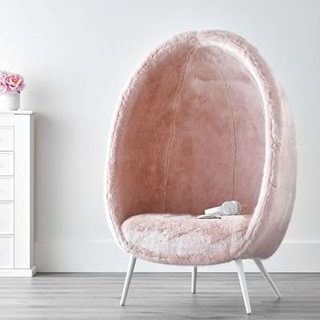 Iced Faux-Fur Blush Cave Chair