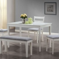 Monarch Specialties 5-Piece Dining Set with a Bench and 3 Side Chairs, White
