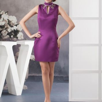 New Arrival  2017 Vintage Coctail Gowns High Neck Beaded Satin Sleeveless Straight Women Casual Prom Sexy Cocktail Dress