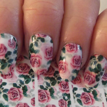 Free Shipping - PINK ROSES Nail Art on Clear (ROSP) Full Nail Wrap Waterslide Decals - Not stickers or vinyl