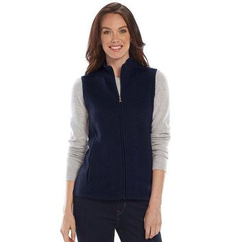 DCCKX8J Croft & Barrow Quilted Mockneck Vest- Women's Size