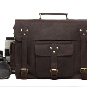 BLUESEBE MEN HANDMADE VINTAGE LEATHER SATCHEL/MESSENGER DSLR CAMERA BAG 7200C