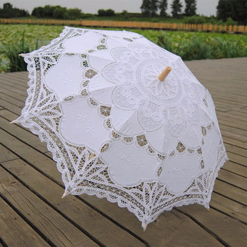2015 Bridal Umbrella White Lace Parasol Handmade Summer Battenburg Lace Wedding Umbrella Wedding Decorations Lace Sombrinha