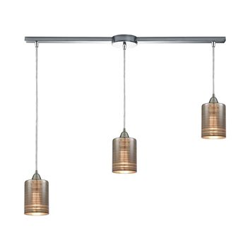 Plated Rings 3-Light Linear Mini Pendant Fixture in Polished Chrome with Chrome-plated Rings Glass