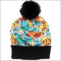 Pokemon Pikachu Squirtle Charmander Sublimated Slouch Cuff Pom Beanie Cap Hat