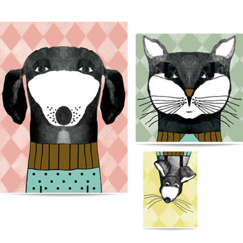Puzzle prints Family Portrait: cat & dog and mouse. Animals illustrations.