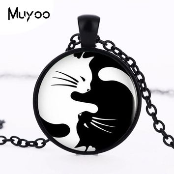 FREE Vintage Two Yin Yang Cats Necklace, Earrings, Brooch, Ring, Keychain Your Choice