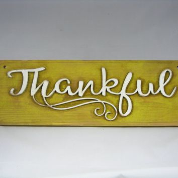 THANKFUL!  Wooden Sign