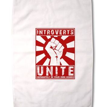 """Introverts Unite Funny Premium Cotton Sport Towel 16""""x25 by TooLoud"""