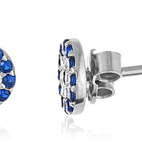 925 Sterling Silver Round 7mm Evil Eye Cz Stud Earrings