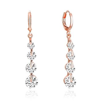 Gold Plated Drop Earring with 4 beautiful Crystals