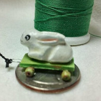 Micro Miniature Bunny on Wheels Only 3/4 by bludusty on Etsy