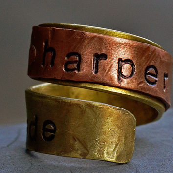 Personalized Name Ring Unisex - Mixed Metal Copper Brass Ring Engraved, Gift Ring, Casual Jewelry