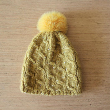 Yellow beanie hat with fur pom pom, Sequin hat, Cable knit hat, Alpaca hat, Bobble hat womens, Winter beanie hat, Fox fur pom pom hat