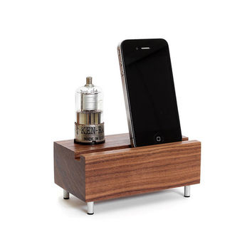 Smartphone stand handcrafted from walnut wood with KEN-RAD tube