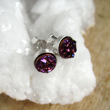 Tiny Plum Druzy Studs Titanium Drusy Quartz Sterling Silver Rhodium Plated Bezel Set Earrings