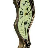 Cool Bronze Finish Melted Mantel Clock Table Desk Dali