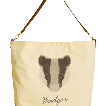 Portrait of Badger Beige Printed Canvas Tote Bag with Leather Strap WAS_29