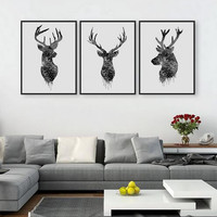 3 Piece Modern abstract Art Painting Black&White Deer Home Living Room Wall Decoration Artwork HD Print Picture Canvas Unframed