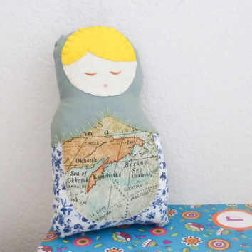 Fabric doll, matryoshka doll, stuffed doll, Russian doll, cotton fabric, ready to ship, nesting doll, handmade, blonde hair, cute doll