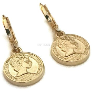 Beautiful Coin Huggies Hoops Earring 18Kts of Gold Plated