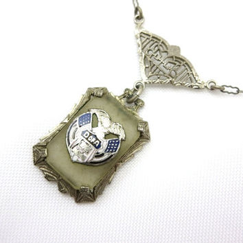 Edwardian Camphor Glass Pendant - Silver Tone Filigree Frosted Glass Paper Clip Chain