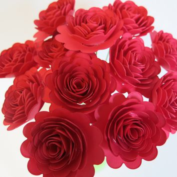 "Red Scalloped Roses on Stems, Bouquet of 12 Carnations, 1.5"" Paper Flowers, January Birthday"