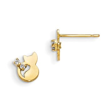 14kt Yellow Gold Cute Kitten with CZ Bow Accent Girls Stud Earrings