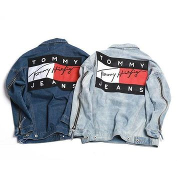ONETOW Tommy Hilfiger Fashion Women Men Lover Denim Cardigan Top Jacket Coat