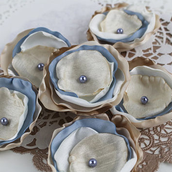 Vintage Wedding Sew On Flower Appliques DIY Bouquet Flowers Singed Fabric Flowers for Crafting, IvoryBlueTanSoftBrown, (Set of 6) A108