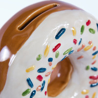 Ceramic Doughnut Coin Bank Vanilla by modclay on Etsy