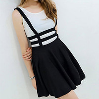 Zippered Hollow Out Black Black Suspender Skirt