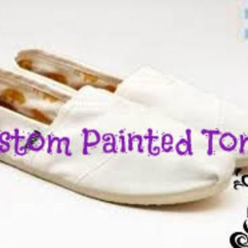 SALE Custom Painted Toms or Vans Canvas Slip On Shoes Men Women Child Any Size Cartoon