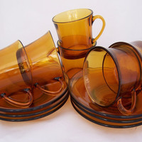 Duralex Six Amber Expresso/ Demitasse Cup & Saucers, 1970s, France, Uk Seller