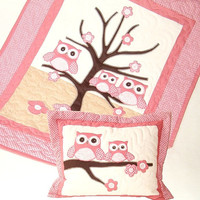 Owl Crib Quilt, Salmon Owl Quilt, Woodland Owl Quilt