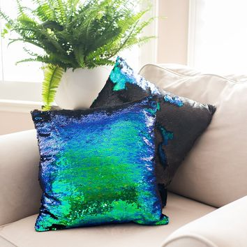 Ankit Mermaid Pillow Reversible Sequin Pillow That Changes Color - Mermaid Green Black Throw Pillow