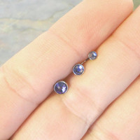 Tanzanite Purple Triple Helix Stud Cartilage Earrings