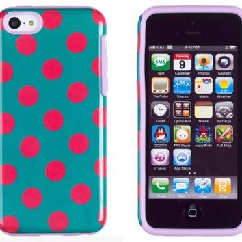 DandyCase 2in1 Hybrid High Impact Hard Hot Pink & Teal Polka Dot Pattern + Silicone Case Cover For Apple iPhone 5C + DandyCase Screen Cleaner