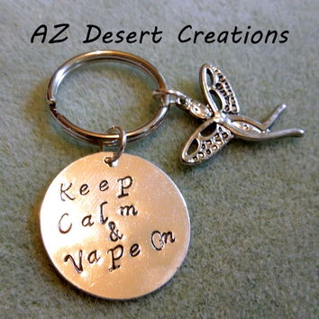 Keep Calm and Vape On Hand Stamped Key Chain with Angel Charm  | DesertCreations - Accessories on ArtFire